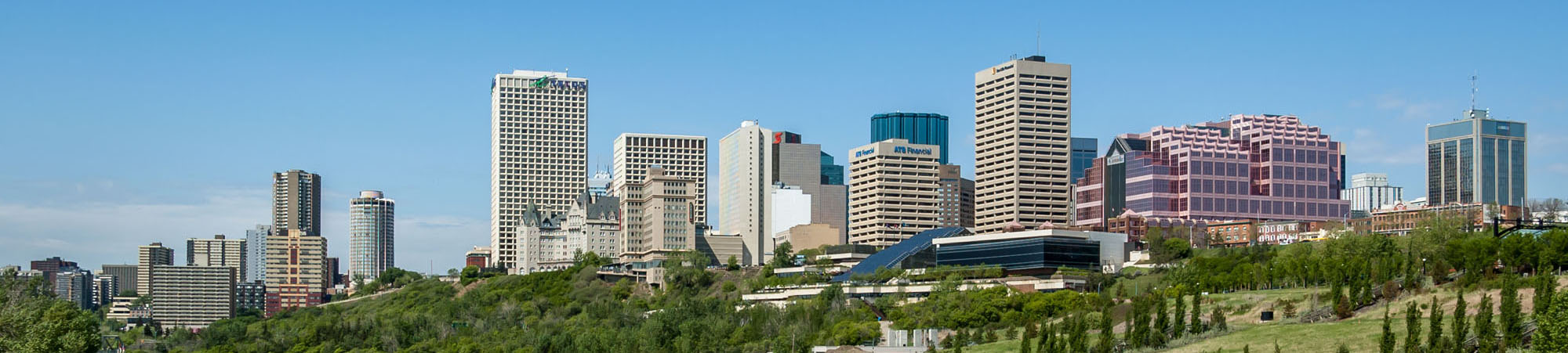 Photo looking over the river valley at downtown Edmonton Alberta for Vanguard Cleaning Systems